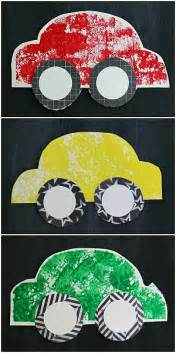Christmas Themed Arts And Crafts - paper car craft for kids using sponge painting buggy and