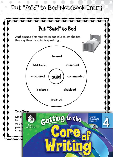 put said to bed writing lesson put quot said quot to bed level 4 teachers