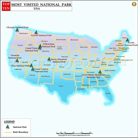 decke usa ten most visited national parks in the us top 10 most