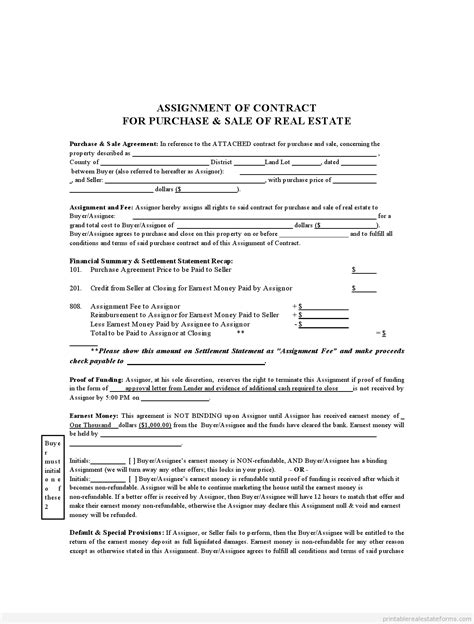sle printable assignment of contract form sle real