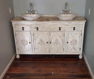 furniture white wooden shabby bathroom vanity with round white sink plus white toilet bowl on