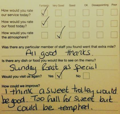 Restaurant Com Gift Card Reviews - restaurant comment cards just put the food into my mouth grumpy comments