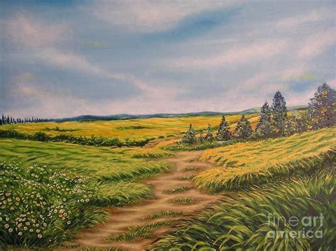 Landscape Artists Fields Landscape Field Grass Trees And Road Painting By Drinka Mercep