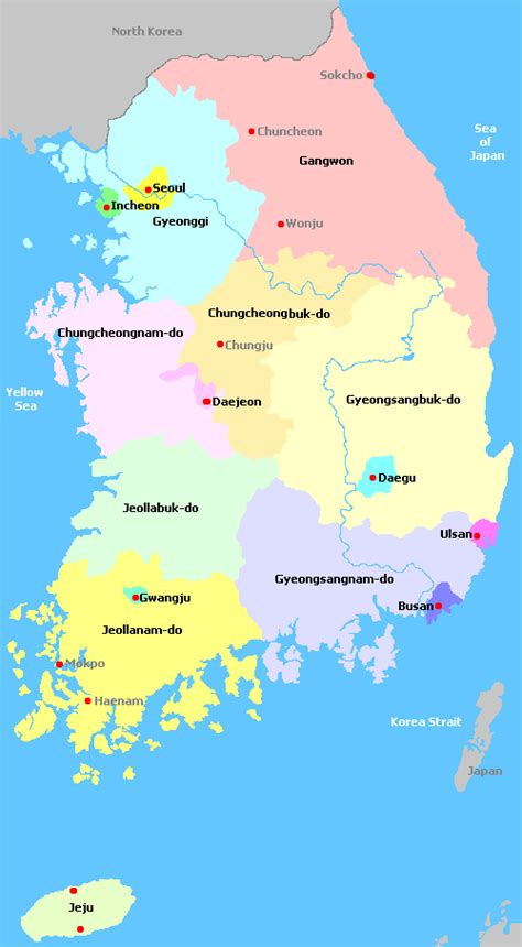 map of south korea south korea map