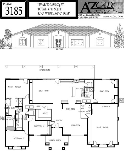 arizona house plans azcad com drafting arizona house plans floor plans