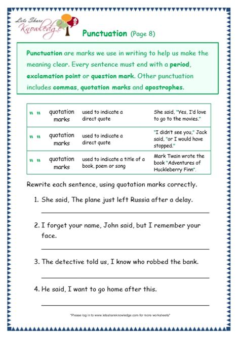punctuation worksheets grade 4 with answers 100 worksheets for grade 4 punctuation all worksheets punctuation worksheets kindergarten