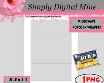 popcorn wrapper template free microwaveable popcorn etsy