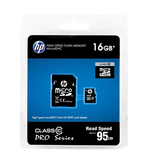 Memory Hp Micro hp 16gb micro sd card 95mb s class 10 memory cards at low prices snapdeal india