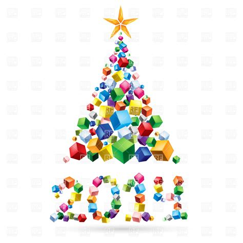 abstract christmas tree 2014 made of colorful cubes vector