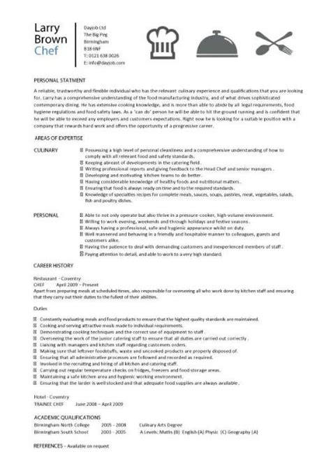 Exle Resume Cook Position Chef Resume Objective Free Excel Templates