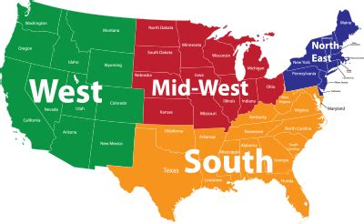 us map divided south east west which of the 4 regions personally has the most beautiful