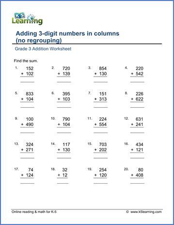 printable multiplication worksheets for grade 3 grade 3 addition worksheets free printable k5 learning