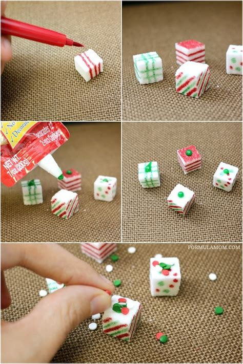 diy christmas cube decorations crafts sugar cube presents sponsored diy