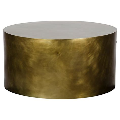 brass drum coffee table palladio modern antique brass cylinder drum coffee table