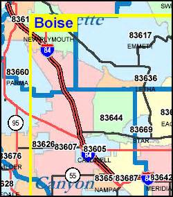 Boise Id Zip Code Map by Idaho Zip Code Map Including County Maps
