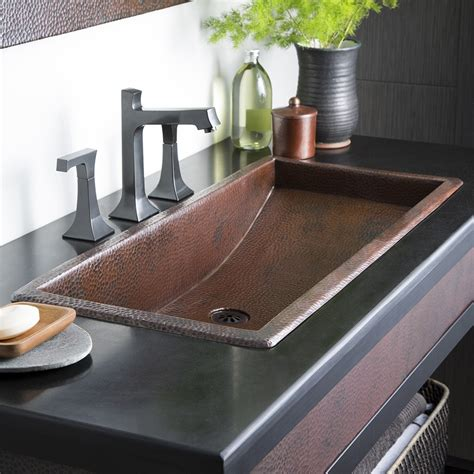 native trails copper farmhouse sink trough 36 36 inch rectangular copper bathroom sink