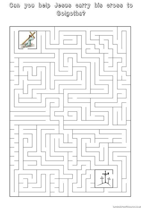 printable religious mazes easter maze sunday school activity worksheet easter