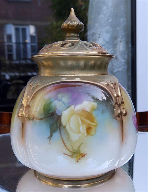 antique royal worcester a hadley roses pot pourri vase