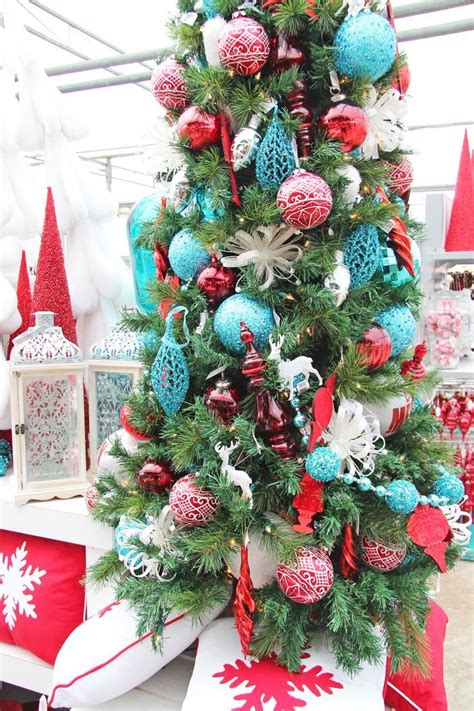 red turquoise christmas decorating ideas christmas