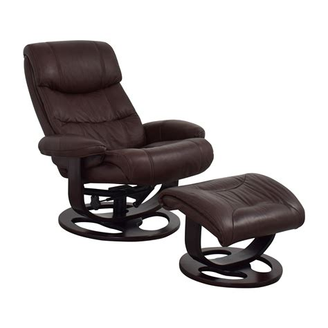 reclining leather chair ottoman 59 off macy s macy s aby brown leather recliner chair