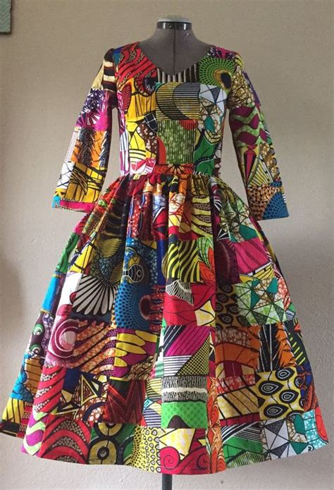 african wax print genuine patchwork midi dress
