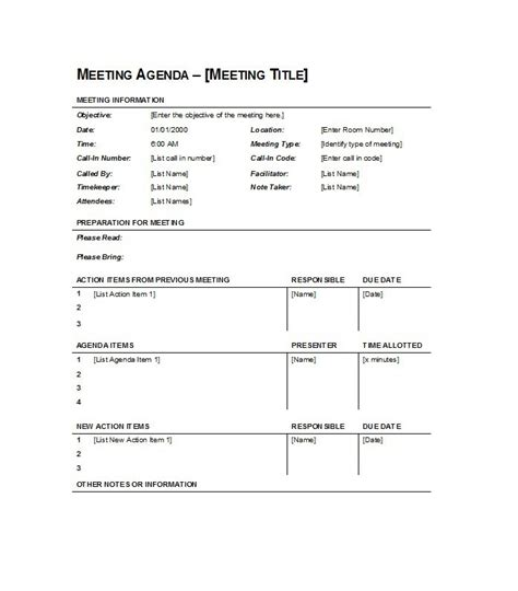 meeting schedule template search results for sle of a meeting agenda calendar