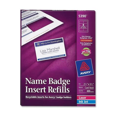 name badge insert template printer