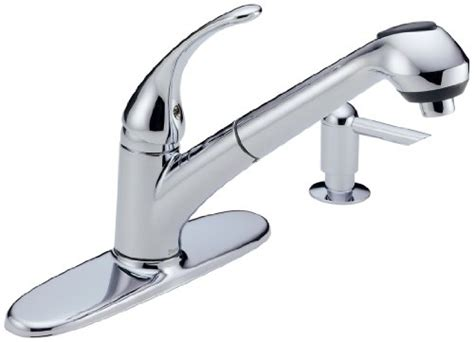 buy kitchen faucet delta foundations b4310lf sssd single handle pull out