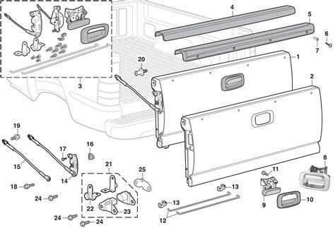 gmc truck parts diagram tailgate components 1999 07 chevy silverado 1999 07