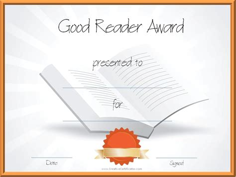 reading certificate templates reading awards and certificate templates free customizable