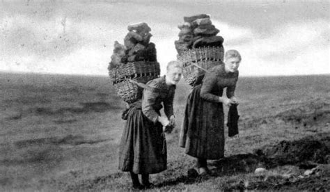 knitting tours scotland photograph of crofters carrying peat on the isle of