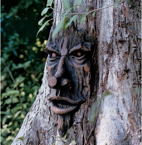 tree faces tree face sculpture art decor decoration yard garden