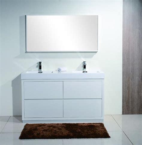 white bathroom vanity canada bliss 60 quot kubebath modern gloss white vanity double sink