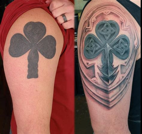 messed up tattoos rework of a messed up then filled in shamrock done by