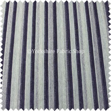 Striped Chenille Upholstery Fabric by Striped Purple Silver Design Soft Shiny Colour Chenille