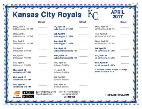 2018 printable kansas city royals schedule printable 2017 kansas city royals schedule