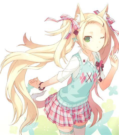 anime neko girl little fox anime girls artbooks theanimegallery com