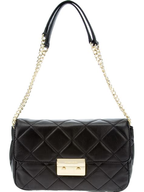 Quilted Chain Bag by Michael Michael Kors Quilted Chain Shoulder Bag In Black