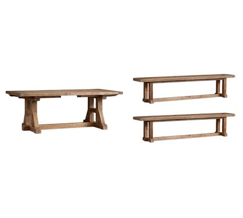 Stafford Reclaimed Pine Extending Table Bench 3 Piece Pine Extending Dining Table