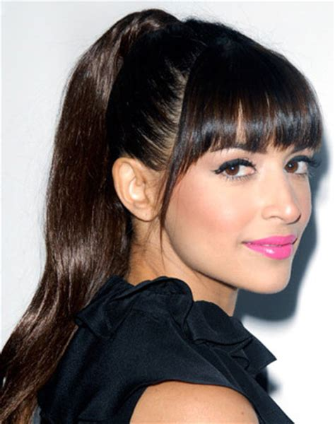 Hannah simone s high ponytail with blunt bangs party prom
