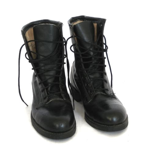 black leather combat boots for trade brigade shoe company combat boots black
