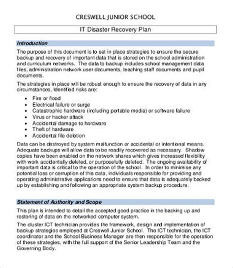 school emergency preparedness plan template disaster recovery plan template free
