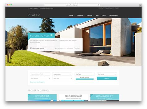 40 Best Real Estate Wordpress Themes For Agencies Realtors And Directories 2018 Colorlib Real Estate Listing Website Template