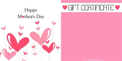 gift card template printable s day gift certificate templates