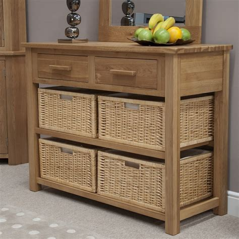 Hallway Tables With Storage Solid Oak Hallway Furniture Basket Storage Console Table Ebay