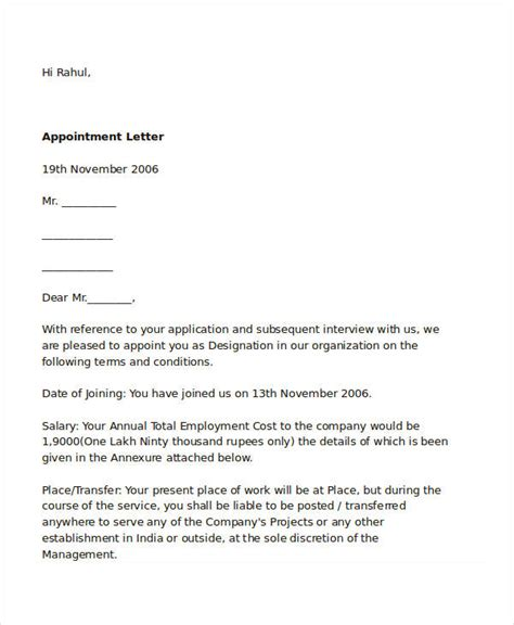 appointment letter sle for hr appointment letter sle for hr manager 28 images sle