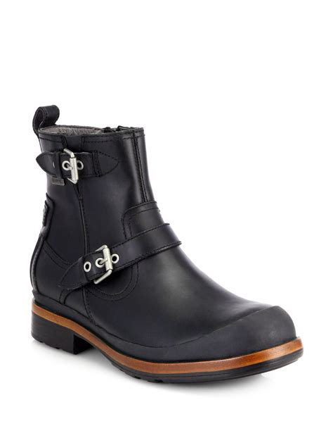black ugg boots mens ugg alston leather buckle boots in black for lyst