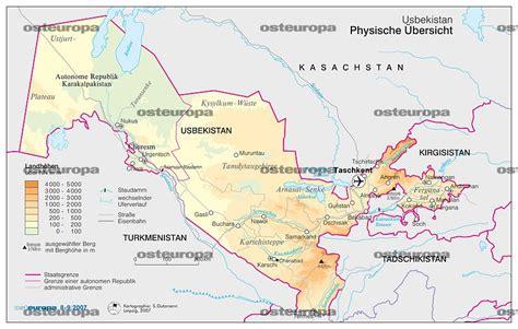 usbekistan regionen karte zeitschrift osteuropa zentralasien