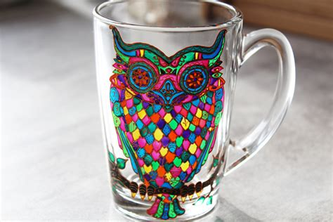 painted glass coffee owl mug glass mug painted coffee mug owl mug by