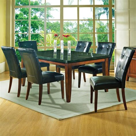 granite top dining table set steve silver granite bello 7 piece contemporary granite